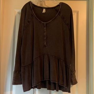Free People Waffle Henley Top Brown
